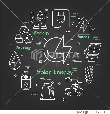 Vector black linear banner of solar energy 50175819