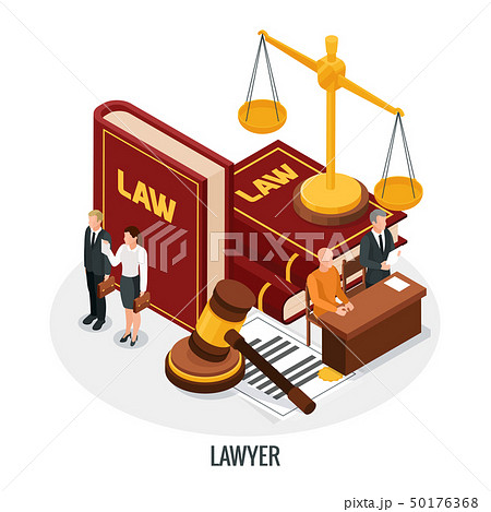 Lawyer Books Isometric Composition 50176368