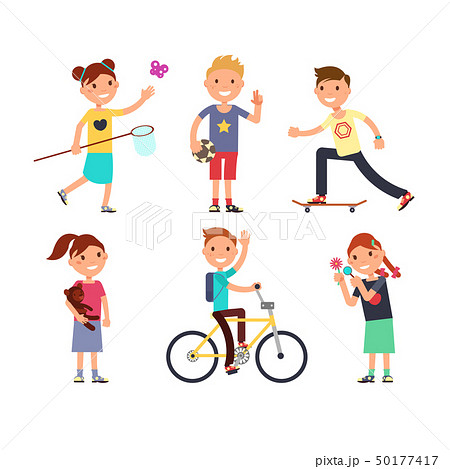 Playing children with toys. Happy kids in playground vector set 50177417