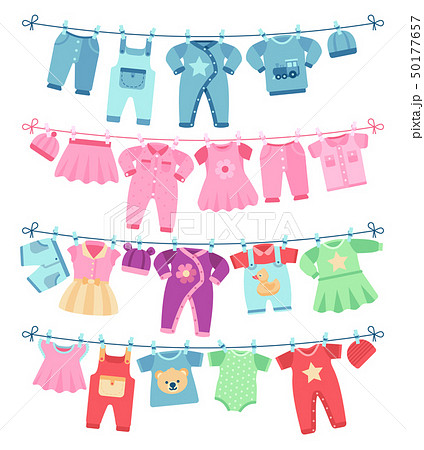 Baby clothes drying on clothesline vector illustration 50177657