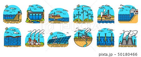 Power plants icons. Industrial buildings. Nuclear Factories, Chemical Geothermal, Solar Wind Tidal 50180466