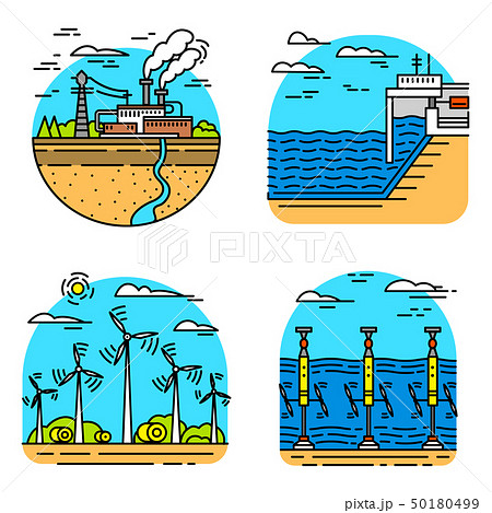 Generating energy. Power plants icons. Industrial buildings. Set of Ecological sources of 50180499