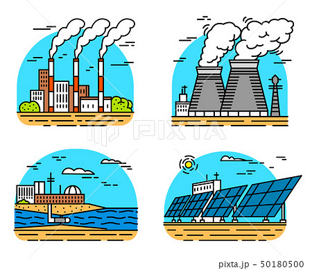 Power plants icons. Industrial buildings. Nuclear Factories, Chemical Geothermal, Solar Wind Tidal 50180500
