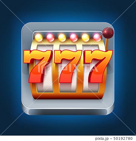 Casino vector smartphone game icon with 777 win slot machine 50192780