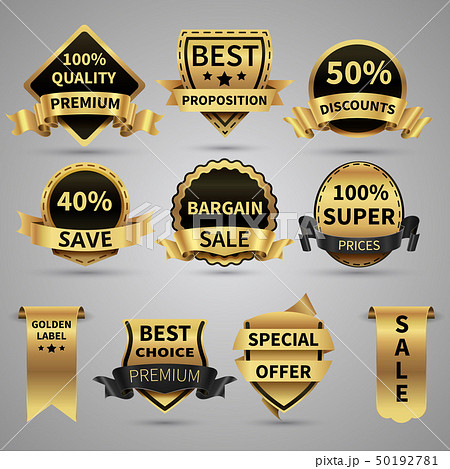 Luxury golden labels and elegant gold emblems vector collection 50192781