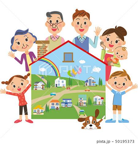 家と三世代家族と街並み 50195373