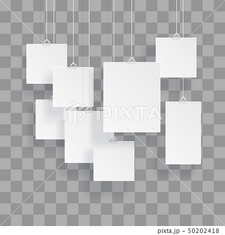 Blank hanging photo frames or poster templates isolated on transparent background 50202418