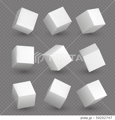 Isolated 3d cubics. White cubes or box shapes with shadows vector set 50202747