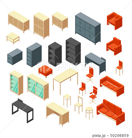 Isometric 3d office furniture isolated. Interior elements vector set 50206859