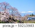勝沼甚六桜と南アルプスと中央線E353系特急電車 50213983