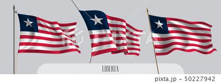 Set of Liberia waving flag on isolated background vector illustration 50227942