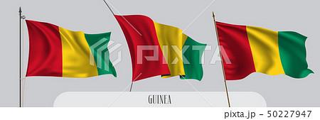 Set of Guinea waving flag on isolated background vector illustration 50227947