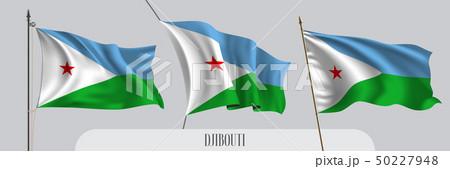 Set of Djibouti waving flag on isolated background vector illustration 50227948