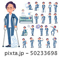 flat type blue suit Glasses man_sickness 50233698