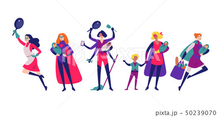 Women in superhero costumes do housework, cleaning, and raising children. 50239070