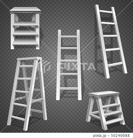 Steel vector staircases. Metal ladder, aluminum stairs vector 50240088