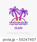 Island thin line icon: palms, sand and sea. 50247407