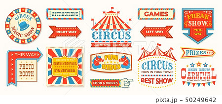 Circus labels. Carnival retro banner signs, vintage magic frames and arrows elements, welcome the 50249642
