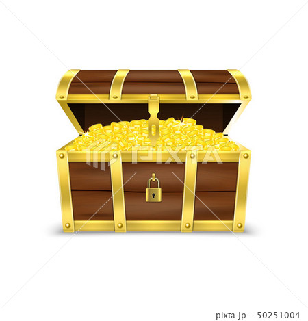 Vector 3d Realistic Opened Retro Vintage Antique Old Treasure Wooden Pirate Dower Chest with Glow 50251004