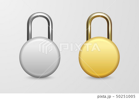 Vector 3d Realistic Closed Circle Metal Golden and Silver Padlock Icon Set Closeup Isolated on White 50251005
