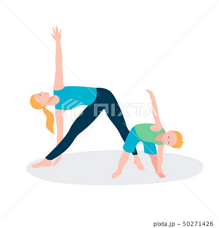 Mother and kid doing sport exercises. Family sports activity. 50271426