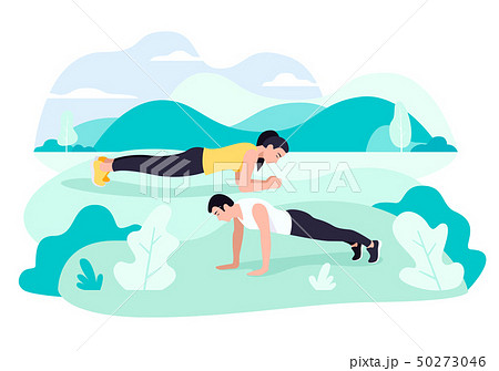 Fit young man and woman exercising doing plank. 50273046