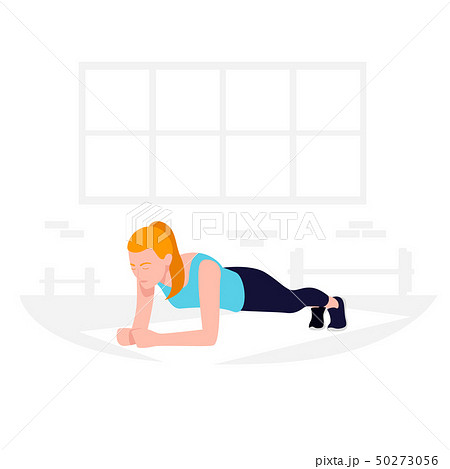 Young Fit woman doing plank exercise. Core workout, loss weight. 50273056