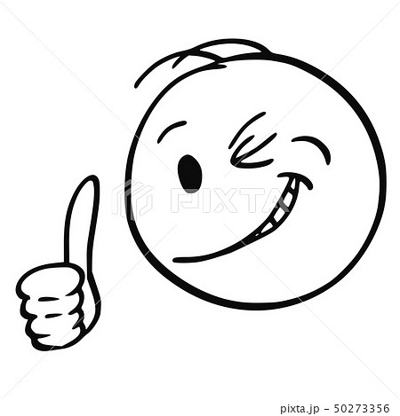 Cartoon of Face of Smiling and Winking Man or Businessman Showing Thumb Up 50273356