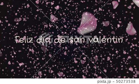 Feliz dia de san Valentin, Happy Valentine's day in spanish language, greeting card 50273538