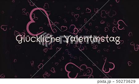 Gluckliche Valentinstag, Happy Valentine's day in german language, greeting card 50273629