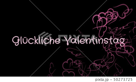 Gluckliche Valentinstag, Happy Valentine's day in german language, greeting card 50273725