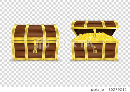 Vector 3d Realistic Closed and Opened Retro Vintage Antique Old Treasure Wooden Pirate Dower Chest 50279212