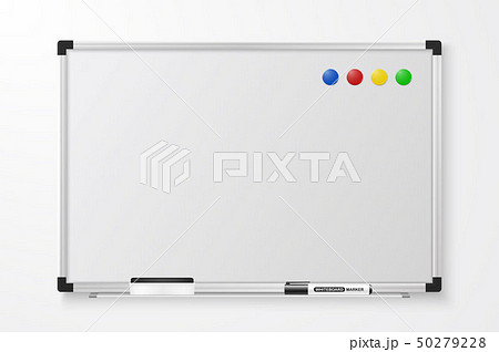 Vector 3d Realistic Blank Magnetic Whiteboard with Marker, Round Magnets and Board Sponge Closeup 50279228