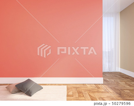 Coral, pink blank wall empty interior with pillows, carpet, curtain and herringbone wood floor. 50279596