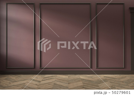 Modern classic red empty interior with wall panels, mouldings and wooden floor. 50279601