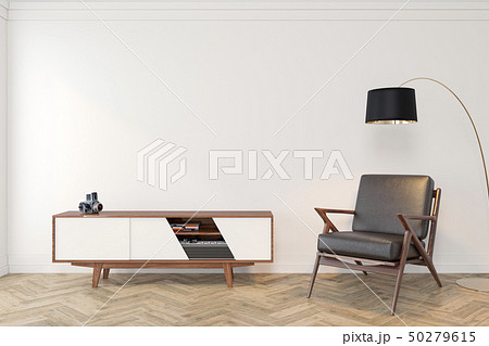 Mid century modern interior empty room with white wall, dresser, console, lounge chair, armchair 50279615