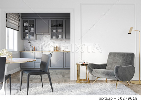 Modern classic white gray interior with armchair, kitchen and mouldings. 50279618