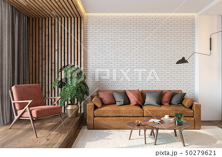 Modern living room interior with brick wall, leather brown sofa, red lounge chair 50279621