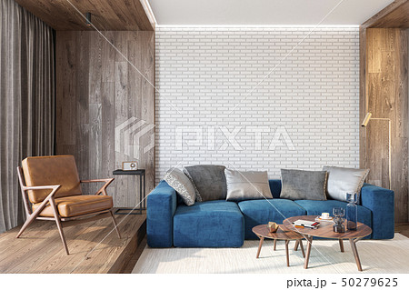 Modern living room interior with brick, blue sofa, leather lounge chair 50279625