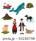 Set of illustrated attractions Scandinavian countries. Vector on white background. 50280796
