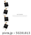 Blank retro photo frames on a rope with clips  50281813