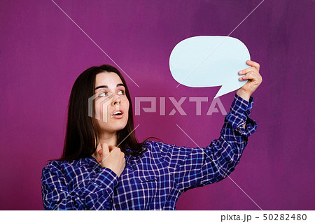 dialogue, talk, opinion. woman with speech bubble 50282480