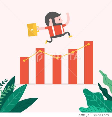 Hipster Businessman jump over growing chart. 50284729