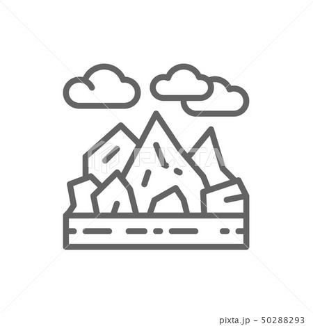 Mountains and rocks landscape line icon. 50288293