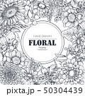 Floral backgrounds with hand drawn flowers and plants 50304439