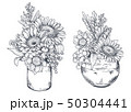 Bouquets with hand drawn flowers and plants in vases jars. 50304441