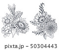 Set of Floral compositions. Bouquets with flowers and plants. 50304443