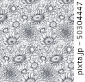Seamless pattern with hand drawn flowers and plants 50304447