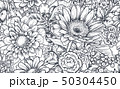 Seamless pattern with hand drawn flowers and plants 50304450