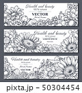Set of three horizontal banners with beautiful flowers and plants 50304454